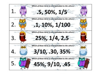 Winter ZAP! Fractions, Decimals, and Percents