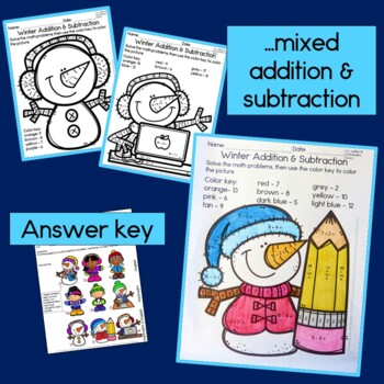Winter addition and subtraction within 20, NO PREP!