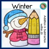 Winter addition and subtraction within 20, NO PREP