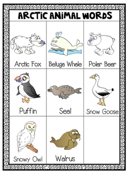 Mini Word Wall - Winter and Arctic Animal Themed