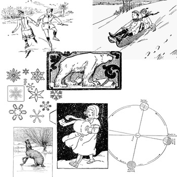 Winter and Arctic Clipart -- 39  assorted items:  sledding
