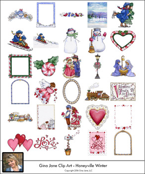 Winter, Christmas and Valentine Clip Art by Gina Jane