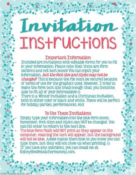 Winter and Christmas Invitations Editable