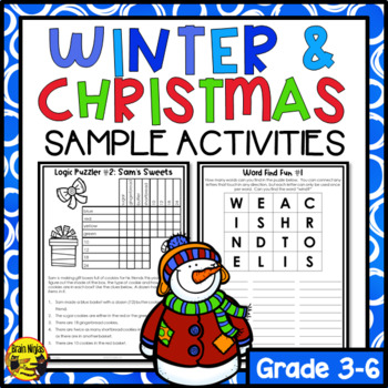 Winter and Christmas Puzzles Freebie