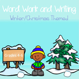 Winter and Christmas Themed Word Work and Writing Task Cards - Intermediate