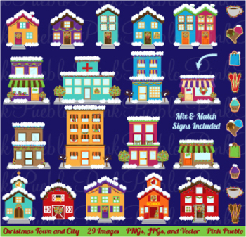 Winter and Christmas Village Clipart