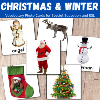 Winter and Christmas Vocabulary Cards for Autism and Special Ed, Speech Therapy