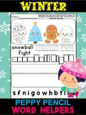 Winter and Christmas Words  - Peppy Pencil WORD Helpers, Word Work, 50 words