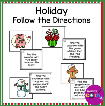 Winter and Christmas Holiday Follow the Directions Activity