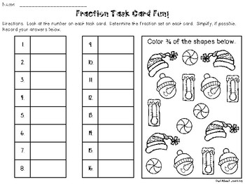 Winter and Holiday Themed Fractions of a Set Task Cards and Printables!