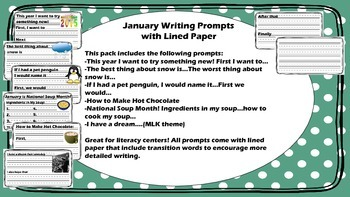 Winter and January Writing Prompts Combo Pack with Lined Paper