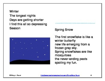 Winter and Snow Poems for Poetry Notebooks