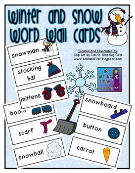 Winter and Snow Word Wall Cards