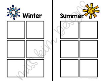 Folder Game: Winter and Summer Kids Sorting for Special Education