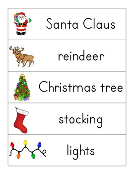 Winter and Winter Holiday word wall words with pictures