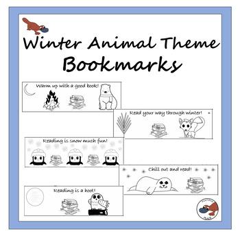 Winter animal theme bookmarks