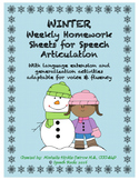 Winter artic NO PREP homework with language extension & carryover activities