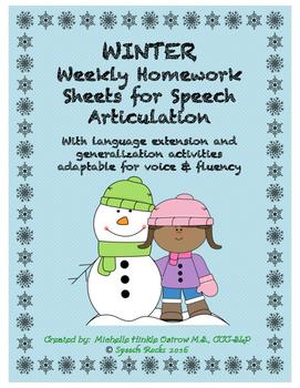 Winter artic NO PREP homework with language extension & ca