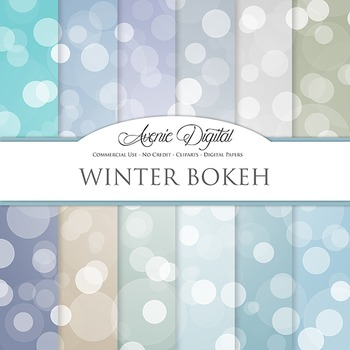 Winter blue Bokeh Digital Paper sparkle overly circles scrapbook background