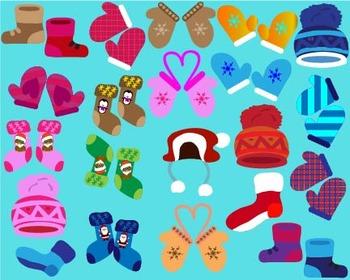 Winter boots, mittens, hats,socks Clipart popular mitten holidays Drawing-011-
