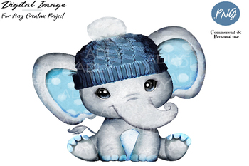 Winter boy elephant clip art, very cute little peanut, dark blue hat polka ears