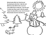 Winter break color and rhyming activity
