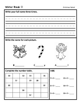 Winter break packet (kinder and 1st grade)