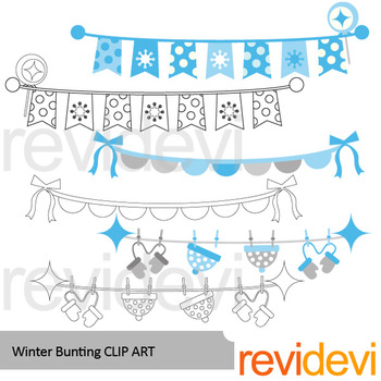 Winter bunting banners clip art