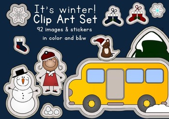 It's Winter! Christmas season clip art graphics sticker set - commercial use