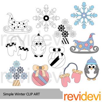 Winter clip art: Simple winter clipart - color plus black and white