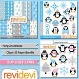 Winter clip art / cute penguins / blue, grey / teacher seller toolkit (3 packs)