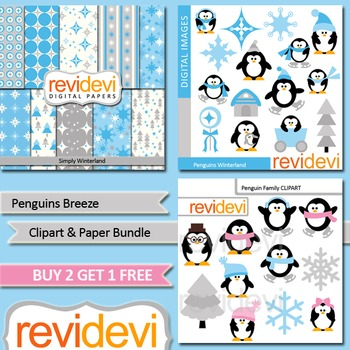 Winter clip art / cute penguins / blue, grey / teacher seller toolkit (3 packs)