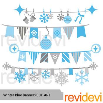 Winter clipart: Winter blue banners clip art