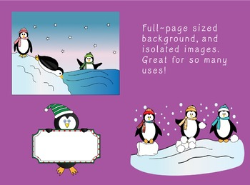 Winter Penguin Fun - commercial-use clipart of cute penguins with character