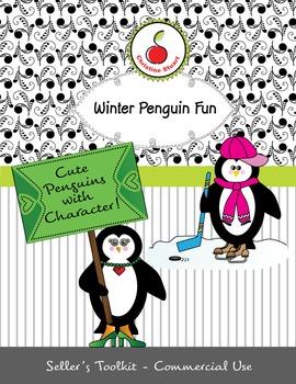 Winter Penguin Fun - commercial-use clipart of cute pengui