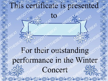 Winter concert participation reward certificate