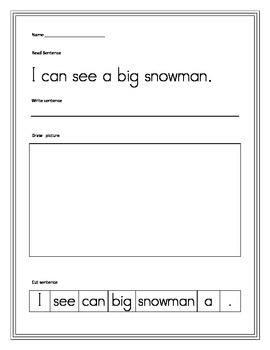Winter cut up sentences, language arts common core