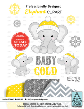 Winter elephant clipart yellow polka dots snow flakes cold baby clipart