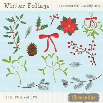 Winter foliage clip art images, mistletoe clip art, holly