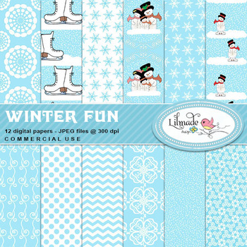 Winter fun Christmas and winter inspired digital papers and backgrounds