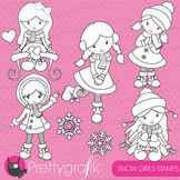 Winter girls stamps commercial use, vector graphics, images - DS621