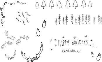 Winter holiday bundle clip art - holly, evergreen trees, lights, antlers graphic