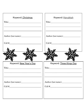 Winter holidays catalog activity