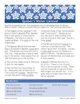 Winter in Canada: Quebec's Winter Carnival (ESL 1)