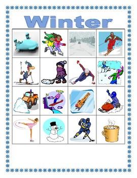 Winter in English Bingo