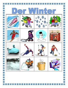 Winter in German Bingo