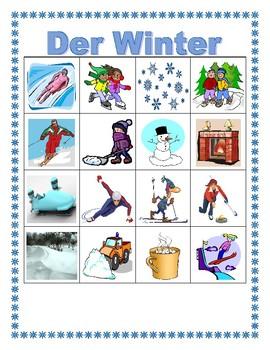Winter in German Bingo