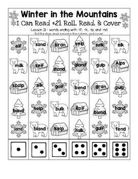 Winter in the Mountains - I Can Read It! Roll, Read, and Cover (Lesson 21)