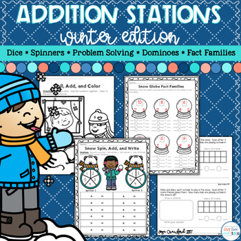 Addition Math Stations - January Math in a Moment Winter Theme