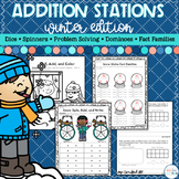 Addition Math Stations -Winter Theme|Digital and Distance